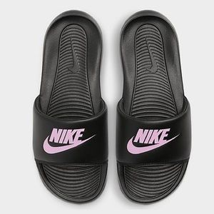 NIKE Slides Silver Slippers Shoes NWT Black Pink